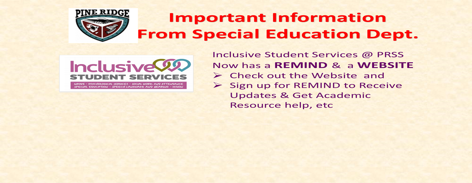 Inclusive Student Services Remind Sign Up